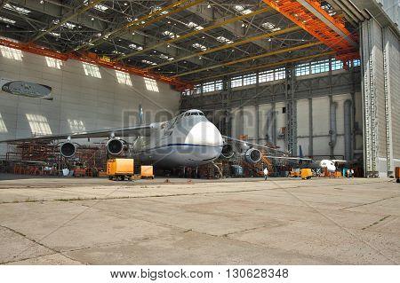 Kiev Ukraine - August 3 2011: Antonov An-124 Ruslan cargo plane being maintenanced during the check