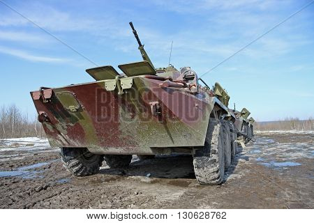 Zhitomir Ukraine - March 10 2011: Armored personnel carrier BTR-80 during the military trainings in the field