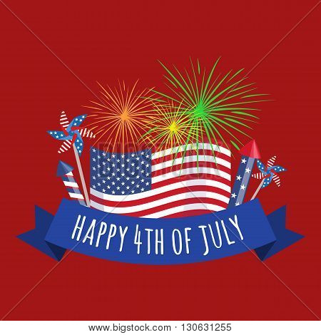Happy 4th of July - Independence Day Vector Design - July Fourth poster
