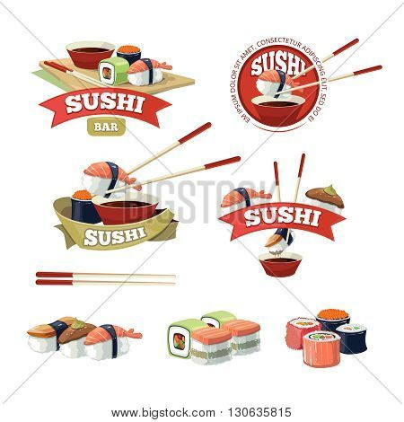Vector set with sushi banners, sushi icons, logo and and sushi illustrations isolate on light background.