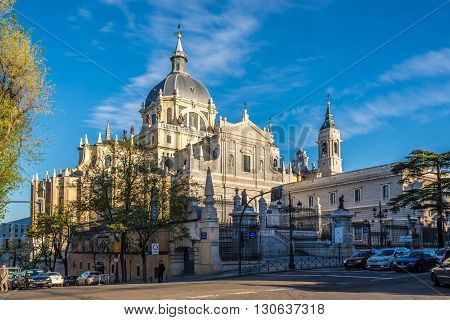 MADRID,SPAIN - APRIL 25,2016 - Cathedral of Saint Mary the Royal of La Almudena in Madrid. It was consecrated by Pope John Paul II in 1993.