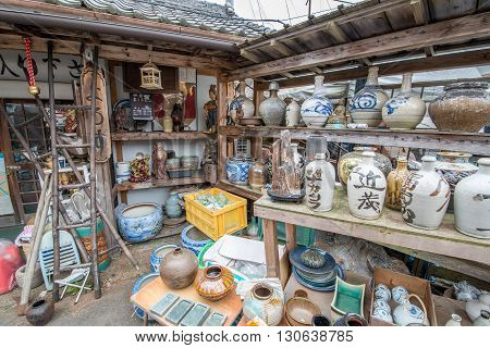 Large collection of Japanese pottery outside on show