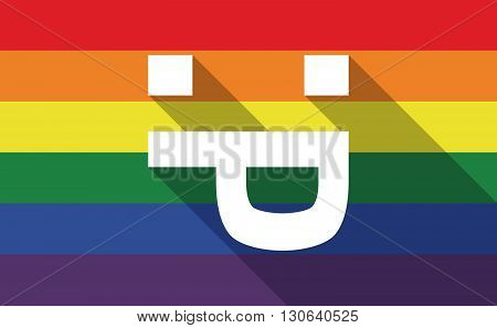 Long Shadow Gay Pride Flag With A Sticking Out Tongue Text Face