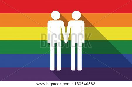 Long Shadow Gay Pride Flag With A Gay Couple Pictogram