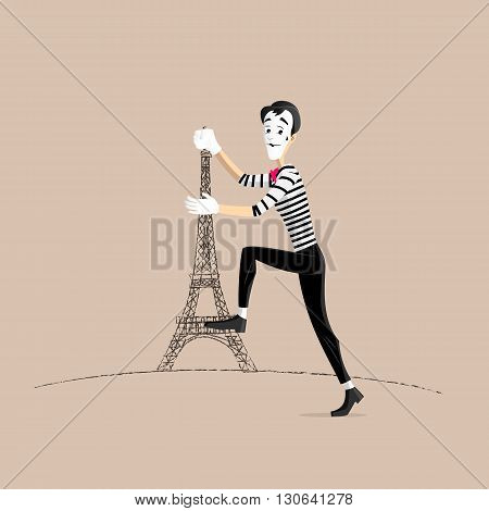 A Mime performing a pantomime climbing the eiffel tower
