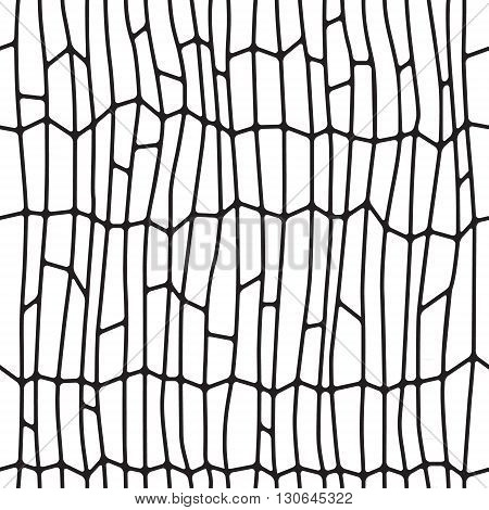 Black and white abstract seamless pattern. Geometric objects like a pebble. Vector illustration.
