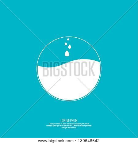 Abstract vector element. Sphere with the liquid and drops of water. The layout for the design. Logo. Box. Frame with empty space for text. Textbox.