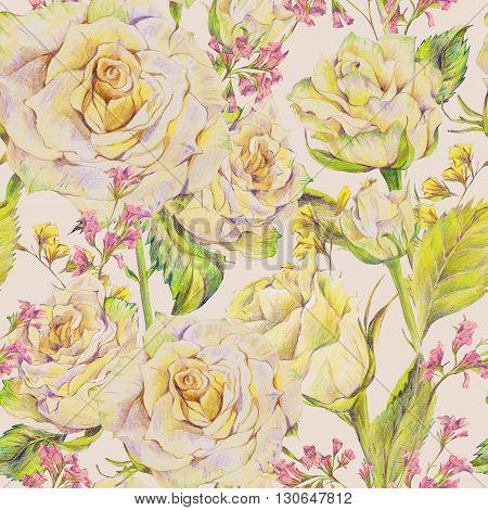 Floral hand drawn seamless background with white roses and wild flowers pencil drawing floral botanical pattern
