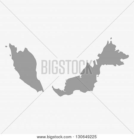 Malaysia map in gray on a white background