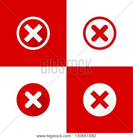 Set of vector buttons with check marks, ticks, x. checkbox. Web and mobile applications. rejection and form of access denial, refusing. red. flat design poster