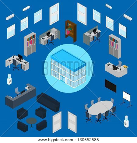 vector illustration. Office interior set - office furniture stationery computer phone desk armchairs sofa chairs table window door air conditioning office building. isometric. infographic.