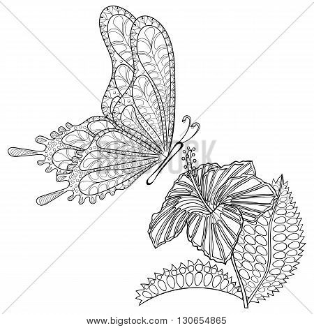 Hand drawn zentangle tribal flying Butterfly and Hibiskus flower for adult anti stress coloring pages, t-shirt print. Boho, bohemian style. Isolated illustration in doodle, henna tattoo design.