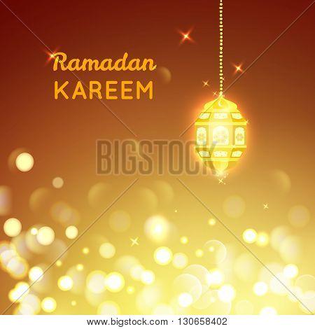Vector illustration of Beautiful Golden lamp , Ramadan Kareem greeting on gold bokeh background.