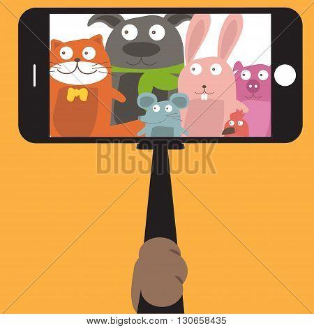 Monopod Selfie with cartoon animals .Vector illustration