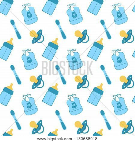 Seamless pattern with baby feeding items. Vector illustration. Dummy feeding bottle bib spoon pacifier. Seamless texture with a set feeding.
