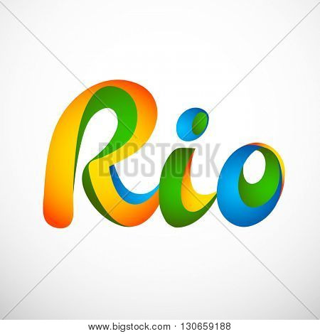 Sign symbol Rio games 2016 in colors of the Brazilian flag. Brazil Carnival. Vector illustration