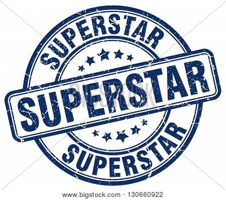 superstar blue grunge round vintage rubber stamp