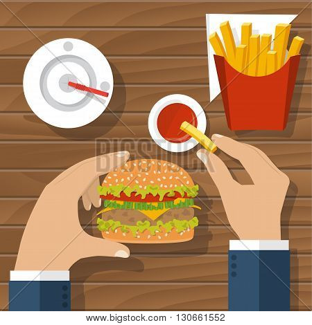 Eating Hamburger, Vector