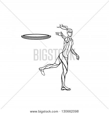 Female player is throwing flying disc. Outline silhouette of disc golf player. Vector lineart illustration
