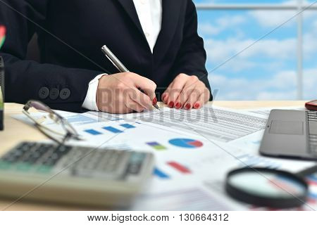 Businesswoman Working On Businessplan