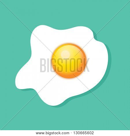 Top view of a fried egg, sunny side up, over turquoise background. EPS10 vector format.