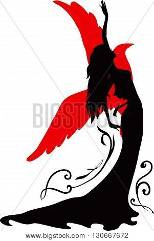 Elegant silhouette of a woman.  Dancer with floral ornament and bird.