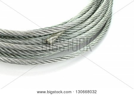 Steel wire rope cable closeup on white