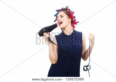 Beautiful female vocalist sings while doing morning toilet.