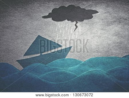 ships into the storm (retro paper style)