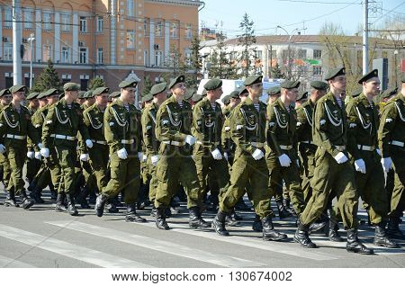 Irkutsk, Russia - May 9, 2015: Column Of Special Purpose Division On Victory Day Celebration