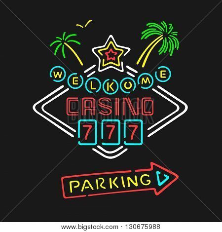 Vector Symbol Neon Casino eps 8 file format