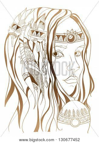 Girl in sketch style boho. Beautiful girl with long hair. Vector poster