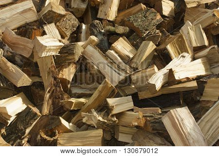 This is a bunch of chopped firewood as background