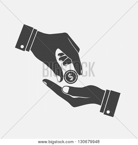 Hand Giving, Receiving Money