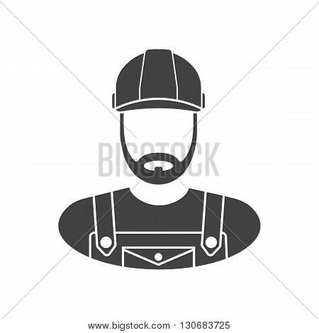 Worker icon vector. Construction worker icon. Worker icon isolated. Icon worker black on a white background. Vector illustration.