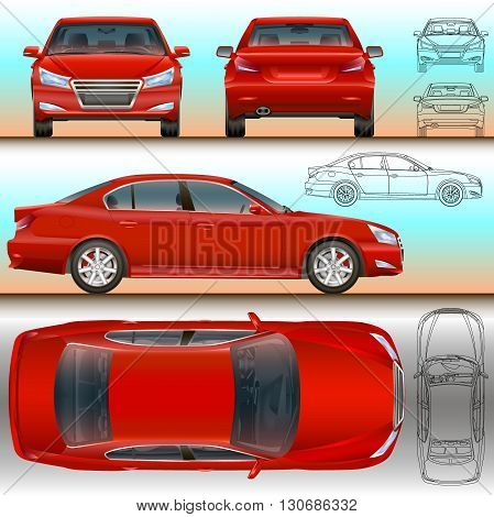 car illustration all view color and outline vector