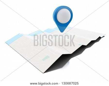 3d renderer image. Map with blue map pointer. Navigation concept. Isolated white background.