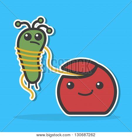Dental floss caught bacteria. Dental hygiene concept. Funny vector illustration