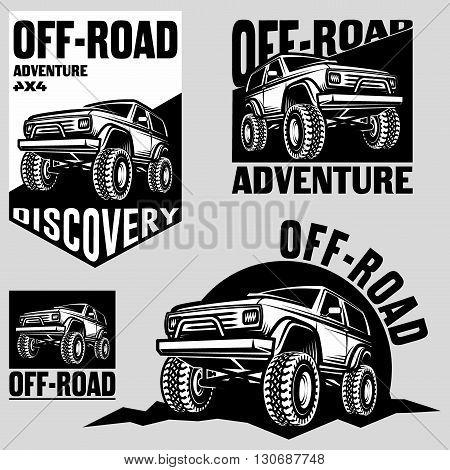 Set of classic off-road suv car emblems, badges and icons. Rock crawler car