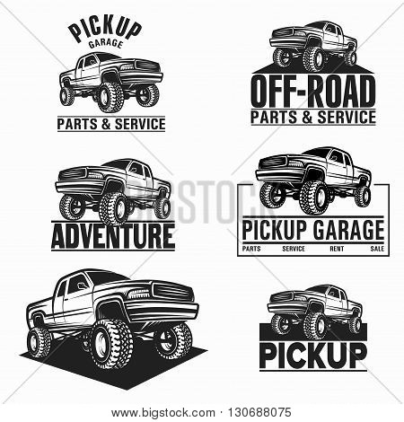 Vector illustration car truck 4x4 pickup logo emblem set