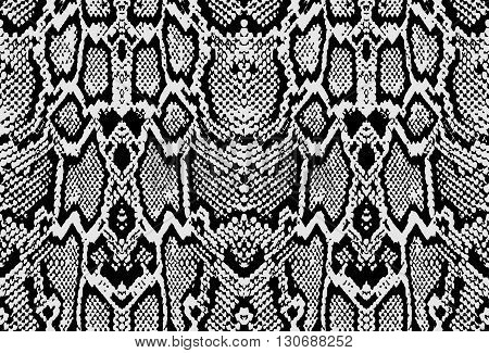 Snake skin texture. Seamless pattern black on white background