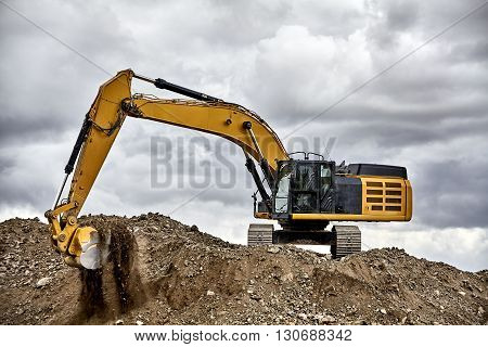 Constuction Industry Excavator Heavy Equipment On Job Site
