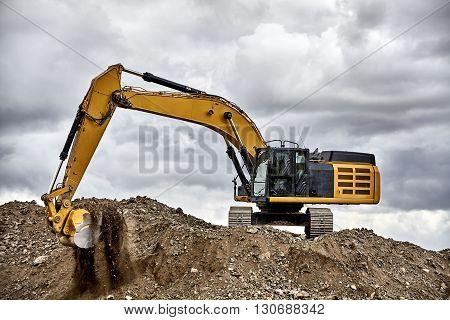 Constuction Industry Excavator Heavy Equipment On Job Site