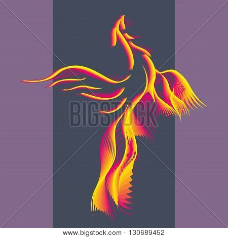Phoenix bird rising from the ashes. Flaming Magic Fairy Bird.Flying Phoenix as abstract logo symbol of rebirth. Luxury creative Logotype icon. Vector illustration