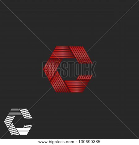 Flickering Intersection Lines Letter C Logo Hipster Monogram, Shimmer Red Ribbon Gradient Graphic Em