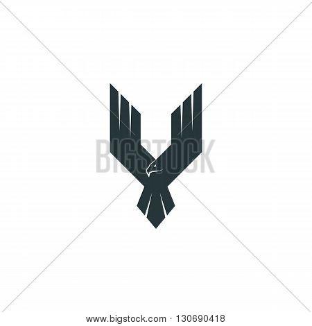 Silhouette eagle logo predator wings up flying hawk abstract shape phoenix poster