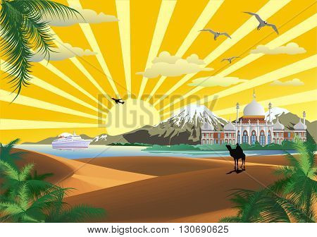 The scenery, the Arab Palace on the coast. Desert. Ship in the Bay. Bedouin on a camel. Vector illustration