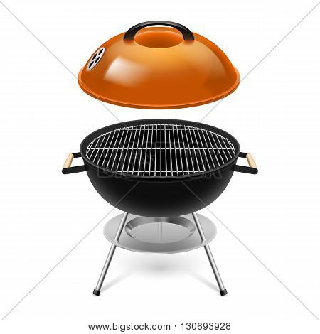 BBQ grill with opened orange cap isolated on white