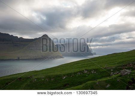 Landscape On The Faroe Islands As Seen From Vidareidi