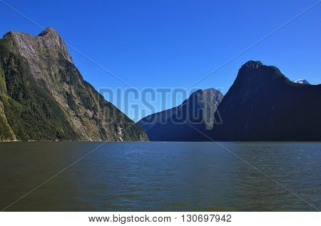Mountains Mitre Peak The Lion and The Elephant. Summer scene in the Milford Sound New Zealand.